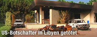 Beschädigtes Botschaftsgebäude
