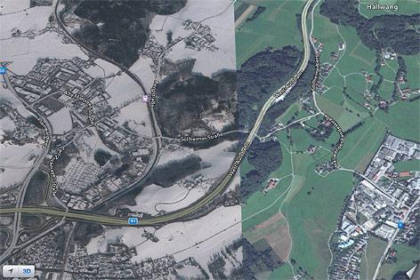 Stadft Salzburg liegt halb im Schnee, halb im grünen