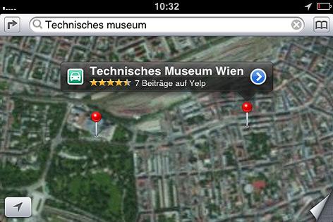 Apple iMap zeigt dasTechnische Museum am falschen Ort an