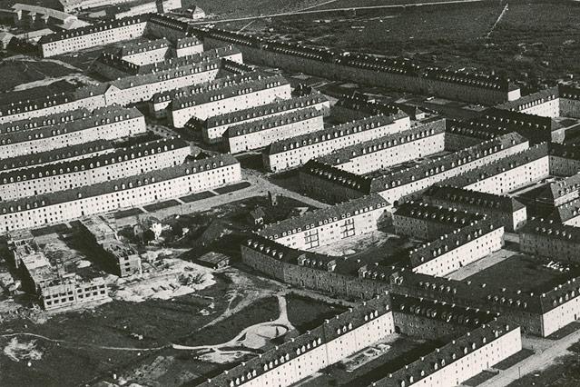 """Luftaufnahme, Siedlung """"Neue Heimat"""" im Bau, 1940"""