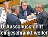 Die Abgeordneten Stefan Petzner, Walter Rosenkranz, Werner Amon und Peter Pilz im Rahmen einer Sitzung des Nationalrates