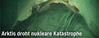 Aufgerissener Rumpf am Heck des 2003 versunkenen russischen U-Boots K-159