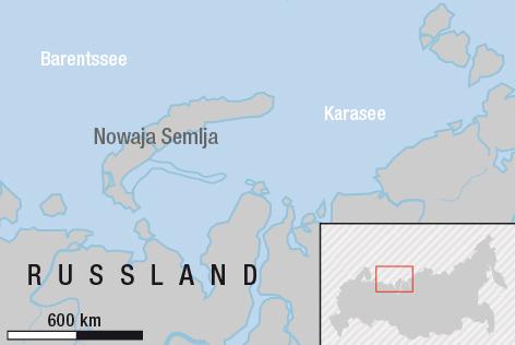 Landkarte zeigt die russische Doppelinsel Nowaja Semlja