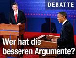 US-Präsident Barack Obama und Herausforderer Mitt Romney beim TV-Duell