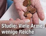 Geldmünzen auf der Handfläche