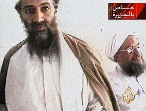TV-Bild von Osama Bin Laden und Aiman al-Zawahiri