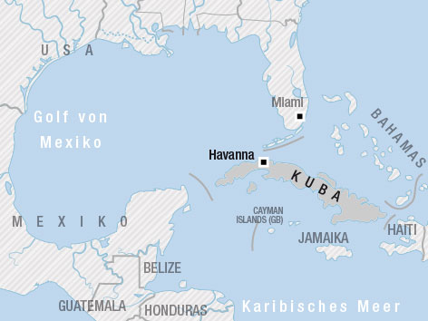 Karte von Kuba mit Nachbarstaaten