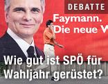 Mann geht an einem Plakat vorbei, das Werner Faymann zeigt