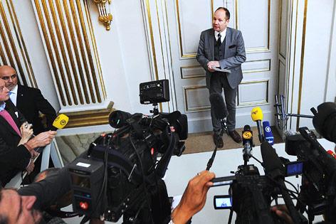 Peter Englund bei der Verkündung des Preisträgers