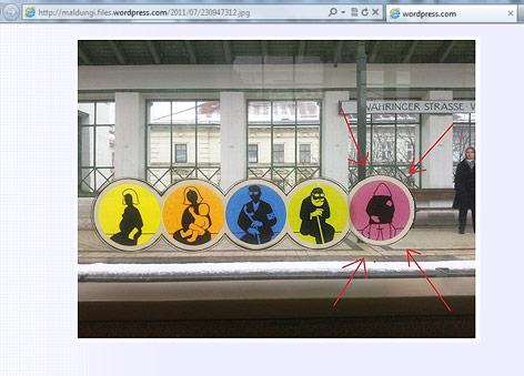 Screenshot zeigt Foto von einem U-Bahn-Sticker