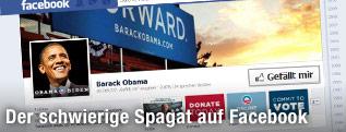 Screenshot der Seite facebook.com/barackobama zeigt ein Porträt von US-Präsident Obama