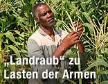 Ein südafrikanischer Farmer überprüft seinen Mais
