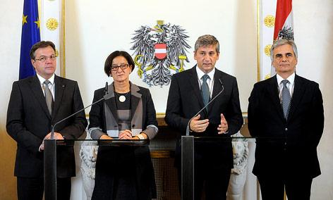 Landeshauptmann Platter, Innenministerin Mikl-Leitner, Vizekanzler Spindelegger und Bundeskanzler Faymann