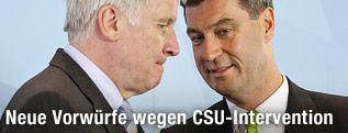 Bayerns damaliger Umweltminister Markus Soeder und Bayerns Ministerpraesident Horst Seehofer (CSU)