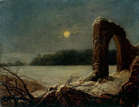 """Ölgemälde von Carl Gustav Carus """"Winterlandschaft mit verfallenem Tor"""", 1816/18"""