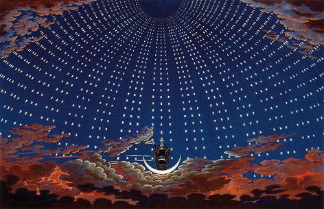 Radierung von Karl Friedrich Schinkel Bühnenbild der Königin der Nacht aus Mozarts Zauberflöte, 1819–24