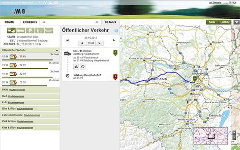 Screenshot zeigt Stadtplan mit Routenberechnung