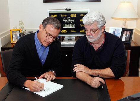 Disney Präsident und CEO Robert Iger und Filmemacher George Lucas