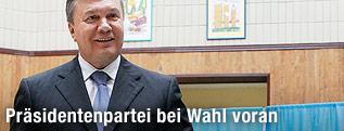 Der ukrainische Präsident Viktor Janukowitsch bei der Stimmenabgabe