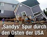 Zerstörtes Haus am Dosey Beach in East Haven (US-Bundesstaat Connecticut)