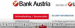 Screenshot der Log-In-Seite von bankaustria.at