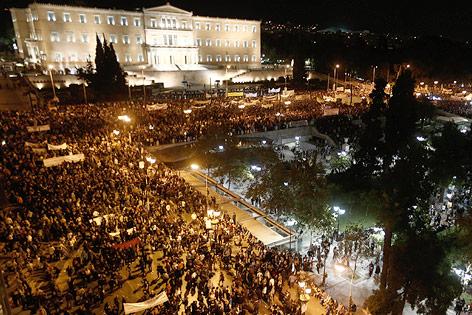 Demonstration vor Parlament in Athen