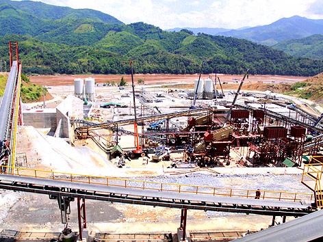 Baustelle des Xayaburi-Damms in Laos
