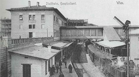 Archivaufnahme entstanden vor 1925, zeigt die Dampfstadtbahn Hauptzollamt, im Bereich der heutigen U4-Station