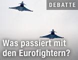 Zwei Eurofighter vom Boden aus gesehen