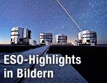 Das ESO Very Large Telescope zielt einen Laserstrahl in den Südsternhimmel