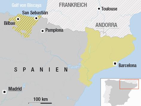 Karte von Katalonien und vom Baskenland