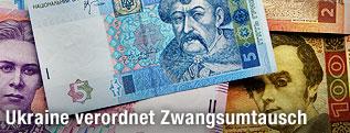 Banknoten der ukrainischen Währung Griwna