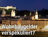 Stadtansicht von Salzburg bei Nacht
