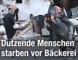 Verletzte Menschen vor der Bäckerei