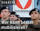Soldaten stehen vor einem Bundesheer-Logo