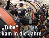 Menschenmasse in Londoner U-Bahn
