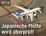 """Eine Boeing 787 """"Dreamliner"""" der All Nippon Airways steht am Takamatsu Airport in Kagawa Prefecture im südwesten Japans auf der Landebahn"""