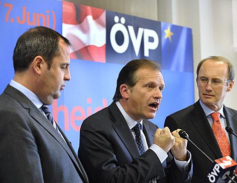Ernst Strasser, Josef Pröll und Othmar Karas (alle ÖVP)