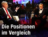 Die beiden Präsidentschaftskandidaten Milos Zeman und Karel Schwarzenberg bei einer TV-Diskussion