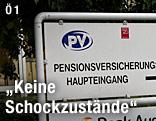 Hinweisschild für die PVA (Pensionsversicherungsanstalt)