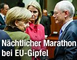 Die deutsche Bundeskanzlerin Angela Merkel, die dänische Premierministerin Helle Thorning Schmidt und EU-Ratspräsident Herman Van Rompuy beim EU-Gipfel in Brüssel