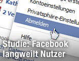 Mauscursor über der Abmeldeoption von Facebook