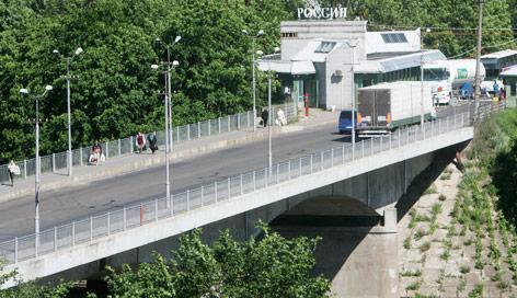Russischer Grenzübergang zu Estland in Narwa
