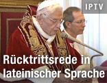 Papst Benedikt XVI. bei der Rücktrittsverkündung