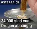 Heroin wird in einer Spritze aufgelöst