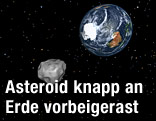 Animation zeigt einen Asteroiden, der an der Erde vorbeifliegt