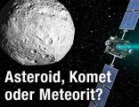 Sattelit neben einem Asteroiden