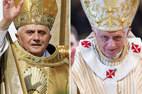 Papst Benedikt XVI im Jahr 2005 und im Jahr 2013