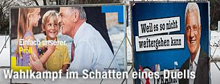 Wahlplakat von Frank Stronach und Erwin Pröll (ÖVP)