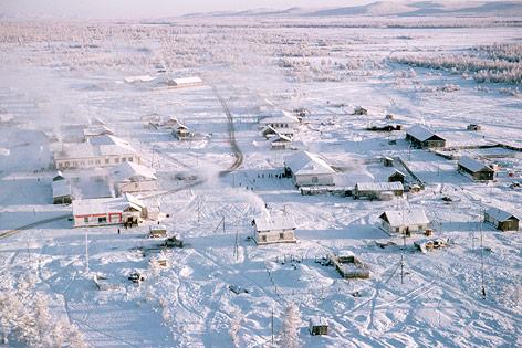 Luftaufnahme der Stadt Omymakon